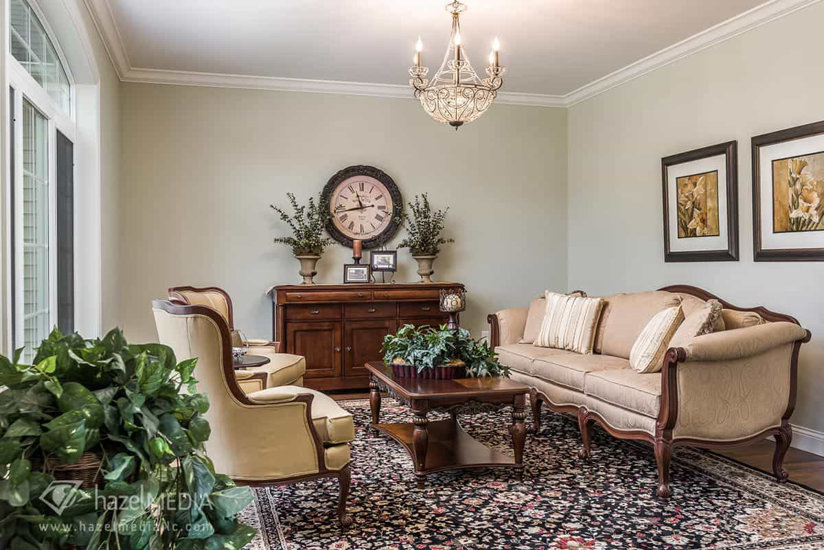 Interior residential photography formal living area