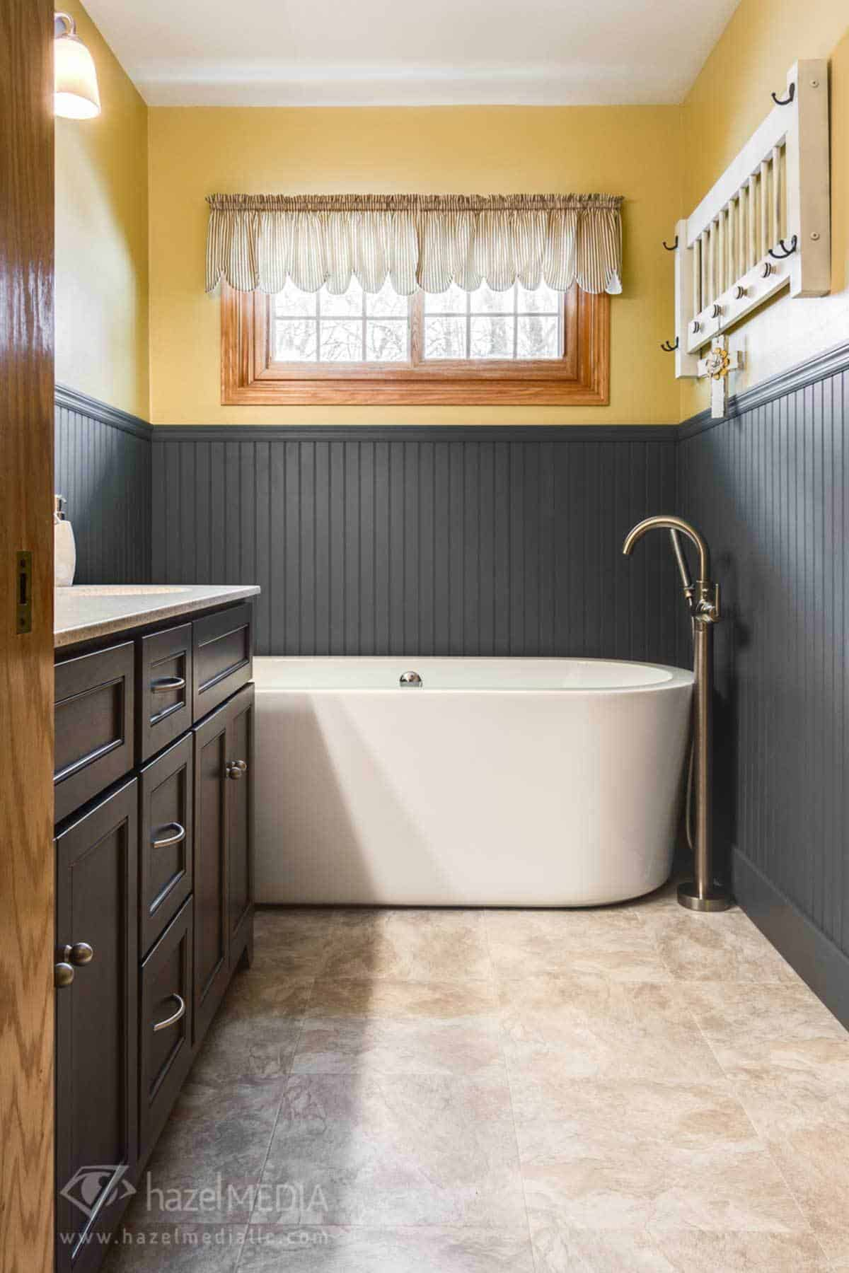 Residential real estate bathroom dark walls