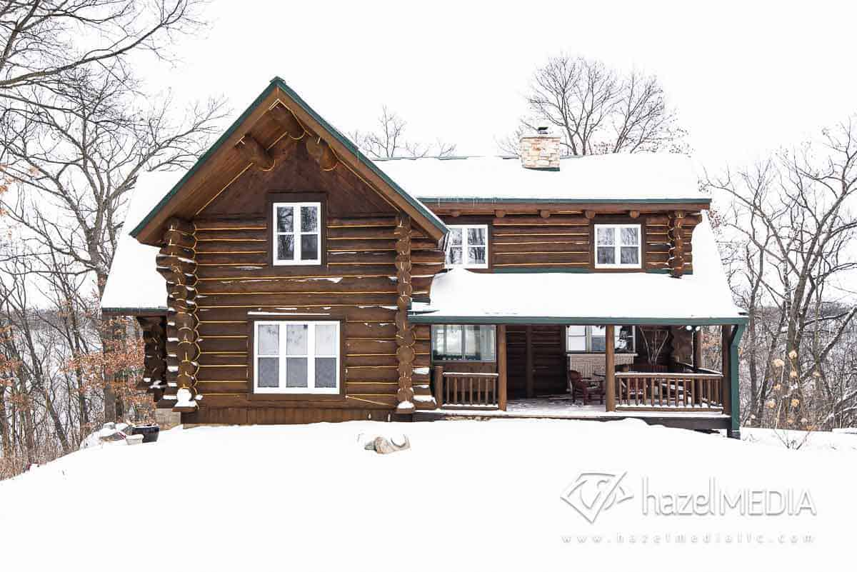 Log residential home exterior winter
