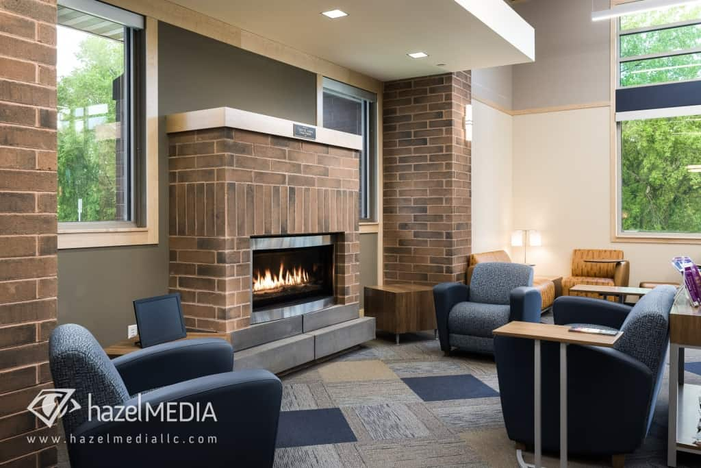 Holmen Library Seating and Fireplace