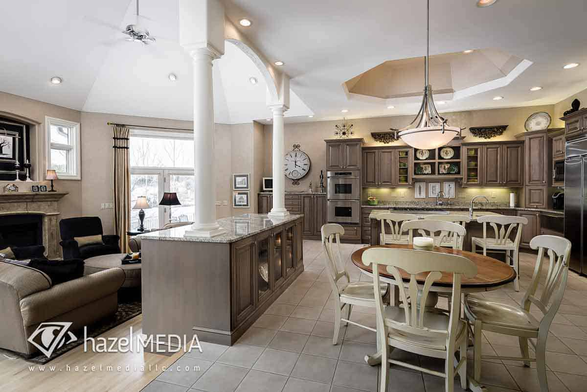 Residential real estate grand kitchen and dining