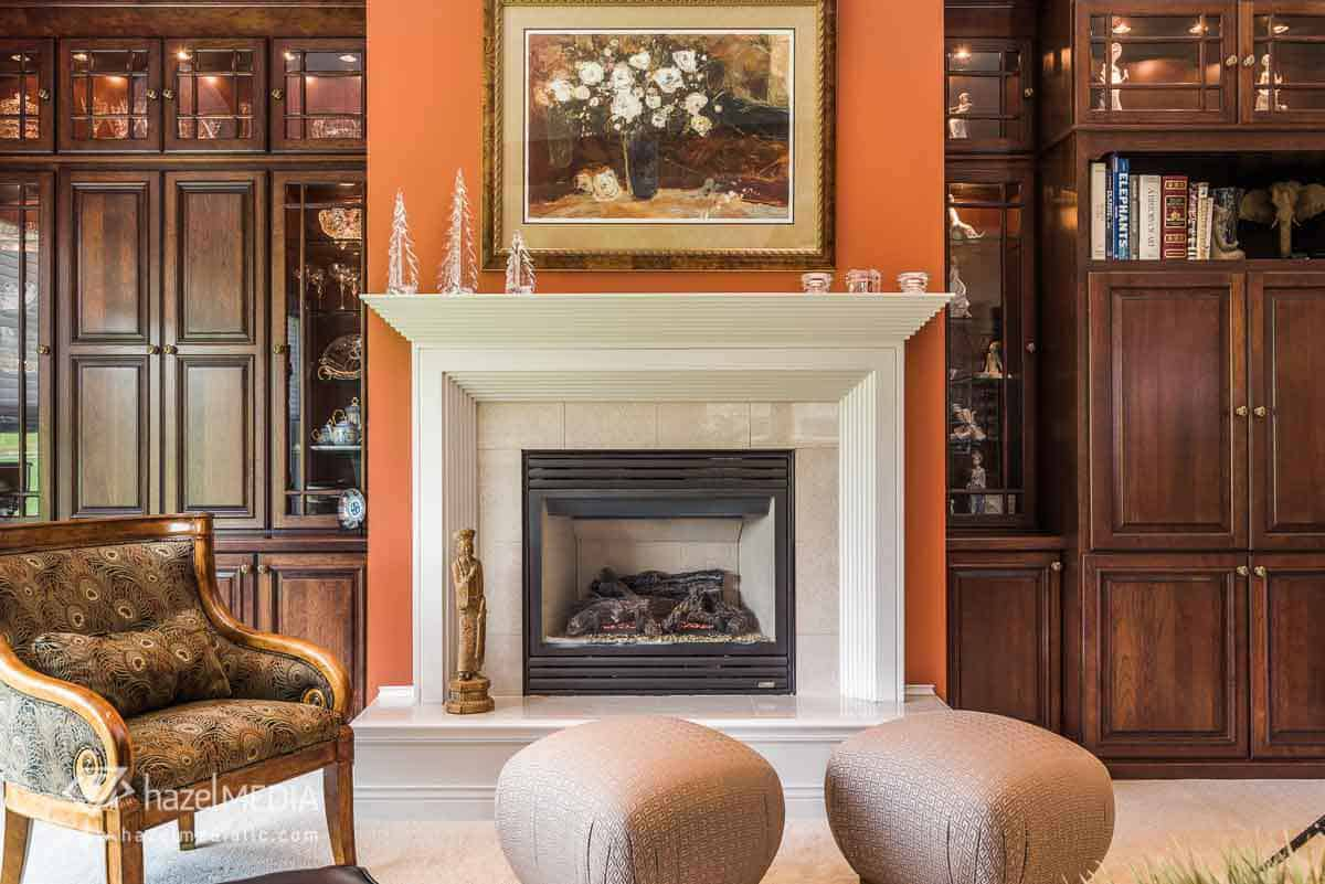 Residential real estate fireplace