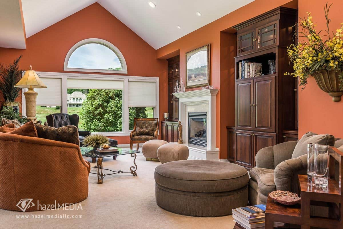 Interior residential photography living room with vaulted ceiling