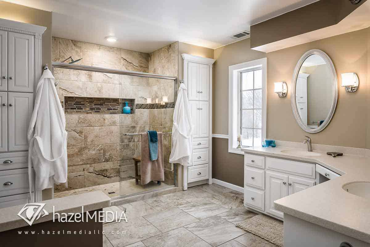 Real estate interior walkin shower and counters