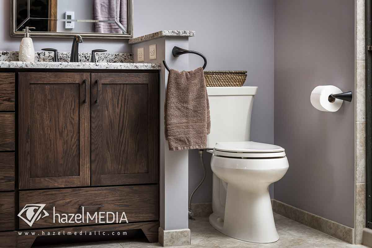 Residential real estate bathroom toilet
